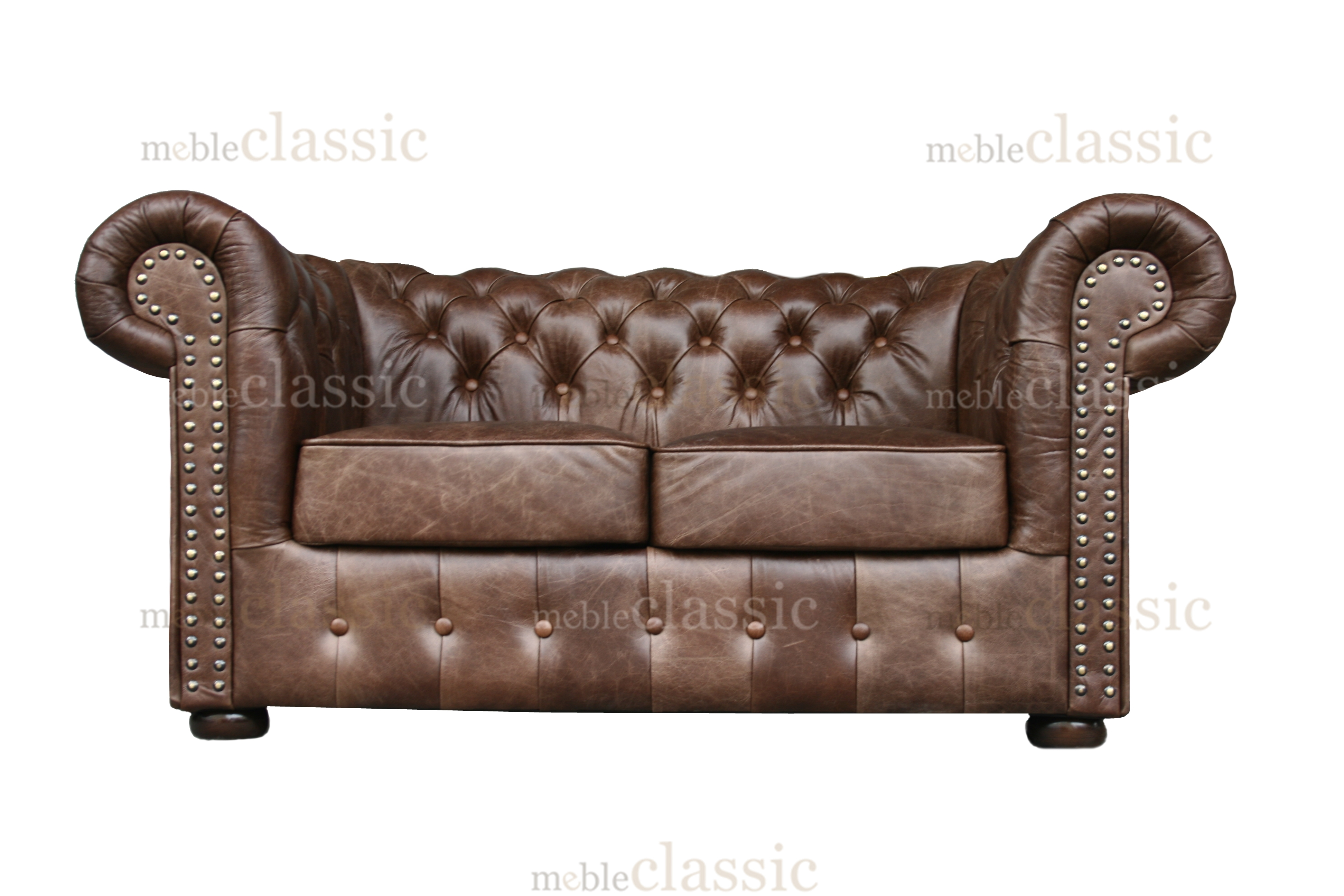 Roma Chesterfield Two Seat Sofa 100 Natural Leather