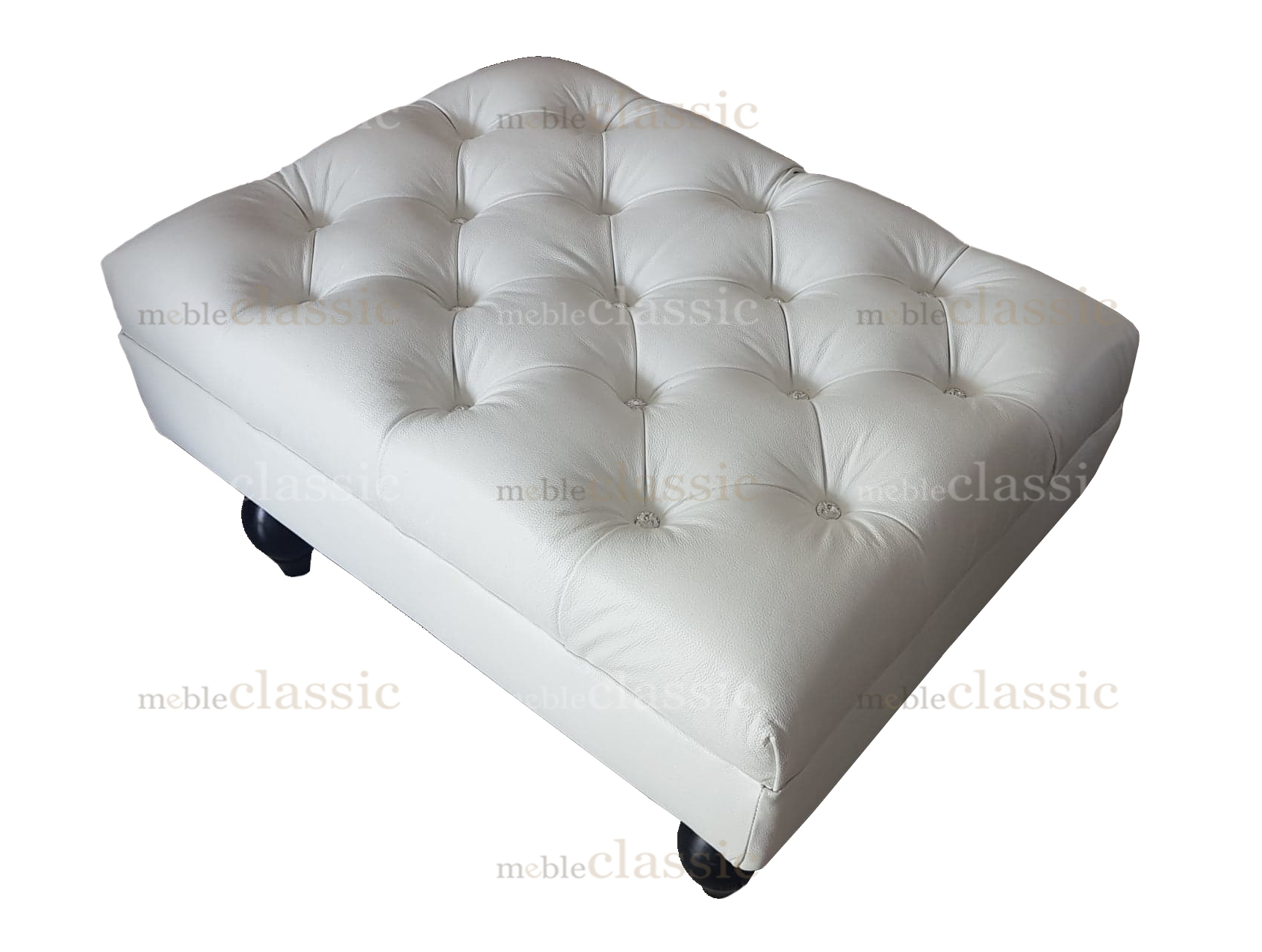 Pamukkale Cheasterfield Foot Rest With Svarowski Crystal And Natural Leather